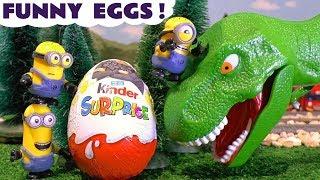 Minions Mini Movie and Thomas The Tank Engine Kinder Surprise Egg Dinosaurs kids nursery rhymes TT4U