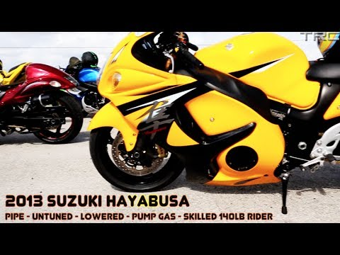 BMW S1000RR and Hayabusa's street race over 200mph - INSANE FLYBY