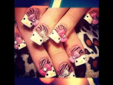 Uñas Decoradas De Hello Kitty Youtube
