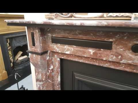 Fully Restored Antique Rouge Marble Fireplace Mantel