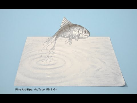 How To Draw A Simple & Easy 3D Effect - Jumping Fish