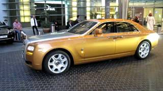 golden Rolls Royce Ghost with real gold Spirit of Ecstasy
