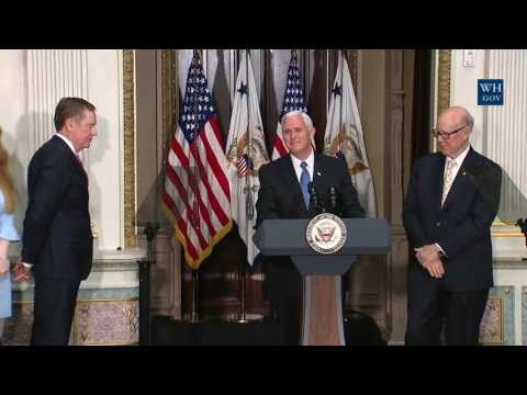 Vice President Pence Participates in a Swearing in Ceremony for Robert Lighthizer