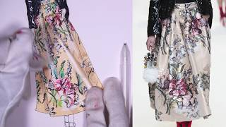 F for FENDI. PATENT LEATHER JACKET + FLORAL PRINT| fashion Drawing Tutorial