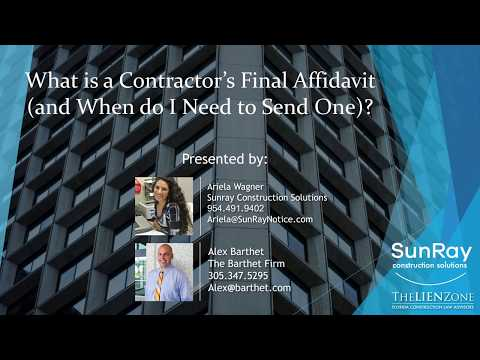 What Is A Contractor S Final Affidavit YouTube