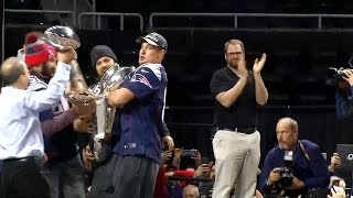 Gronk Almost Fumbles Lombardi Trophy, Fires Up Providence Fans