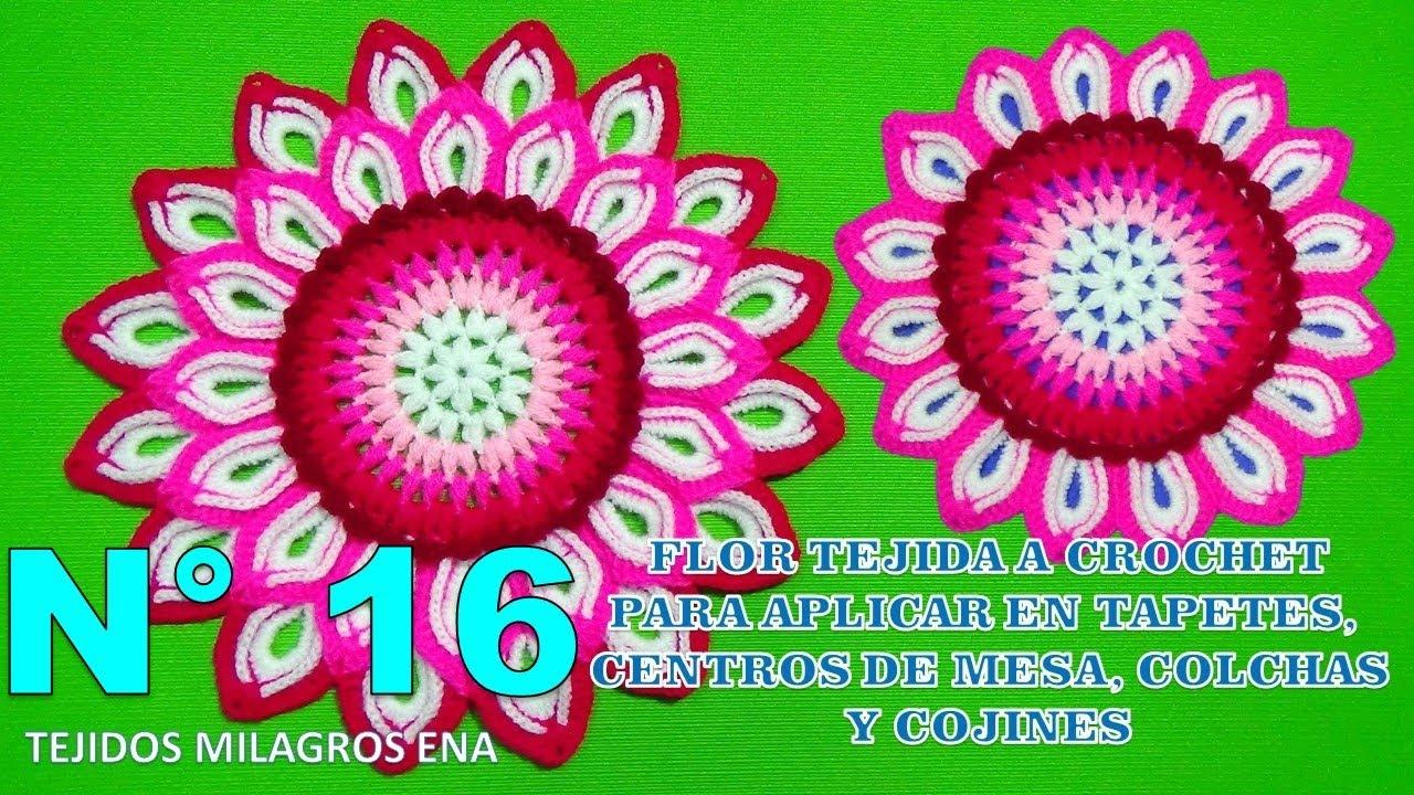 Flor De 32 Petalos A Crochet Paso A Paso Para Aplicar En Tapetes