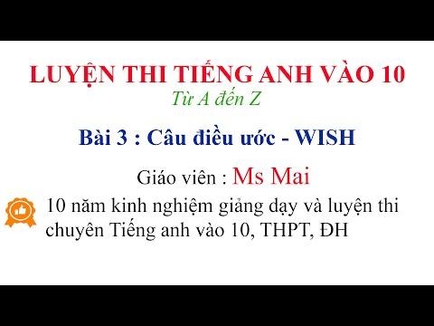 Luyện thi Tiếng anh vào 10 từ A đến Z - Bài 3 : Câu điều ước WISH