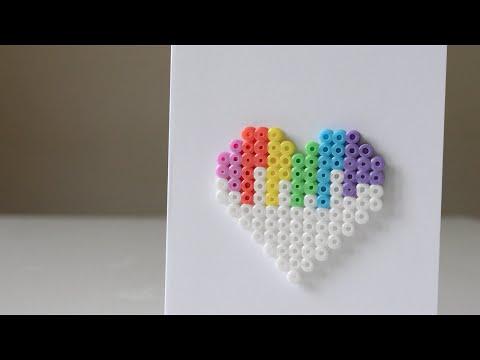 DIY Perler Bead Valentine's Day Heart Card