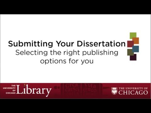 Selecting Publishing Options for your Dissertation