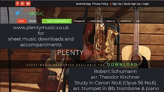 Schumann R arr Kirchner T. | Study in Canon No.6 trumpet in Bb, trombone and piano