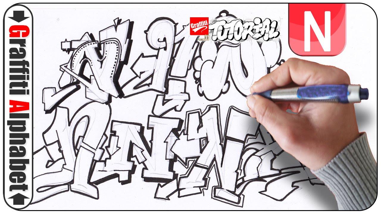 Graffiti Alphabet Buchstabe N  Letra N  Letter N  YouTube