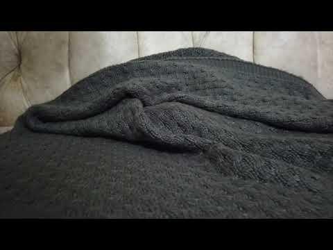 Видео-обзор моего пледа из мериносовой шерсти, связанного спицами