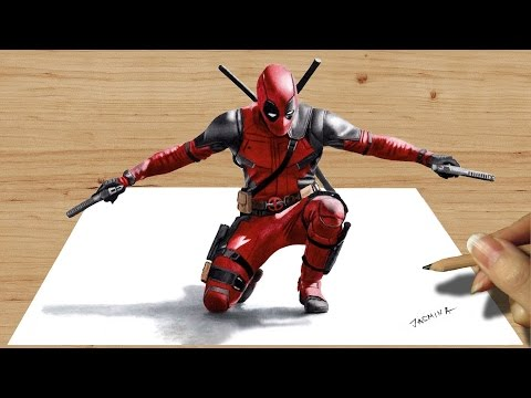 3D Colored Pencil Drawing of Deadpool - Speed Draw | Jasmina Susak