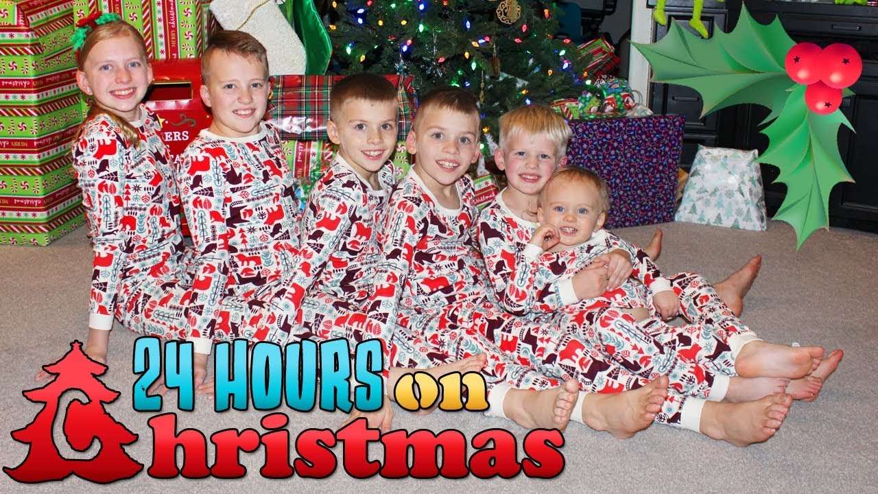 Christmas Family.24 Hours With 6 Kids On Christmas Day 2018