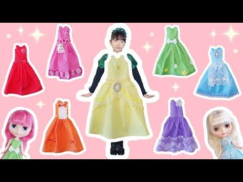 ★ブライスの「7色レインボードレス作り~!」★Blythe's Rainbow Dress★