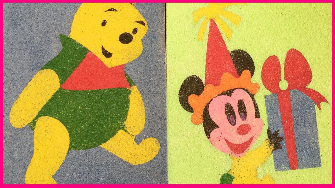 Đồ chơi trẻ em tô tranh cát sắc màu hình chuột mickey và gấu pooh dễ thương cùng với chị Chim Xinh