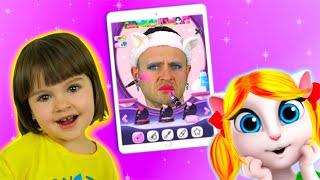 Папа попал в игру Моя Говорящая Анджела | Арина играет в игру и делает папе Makeup