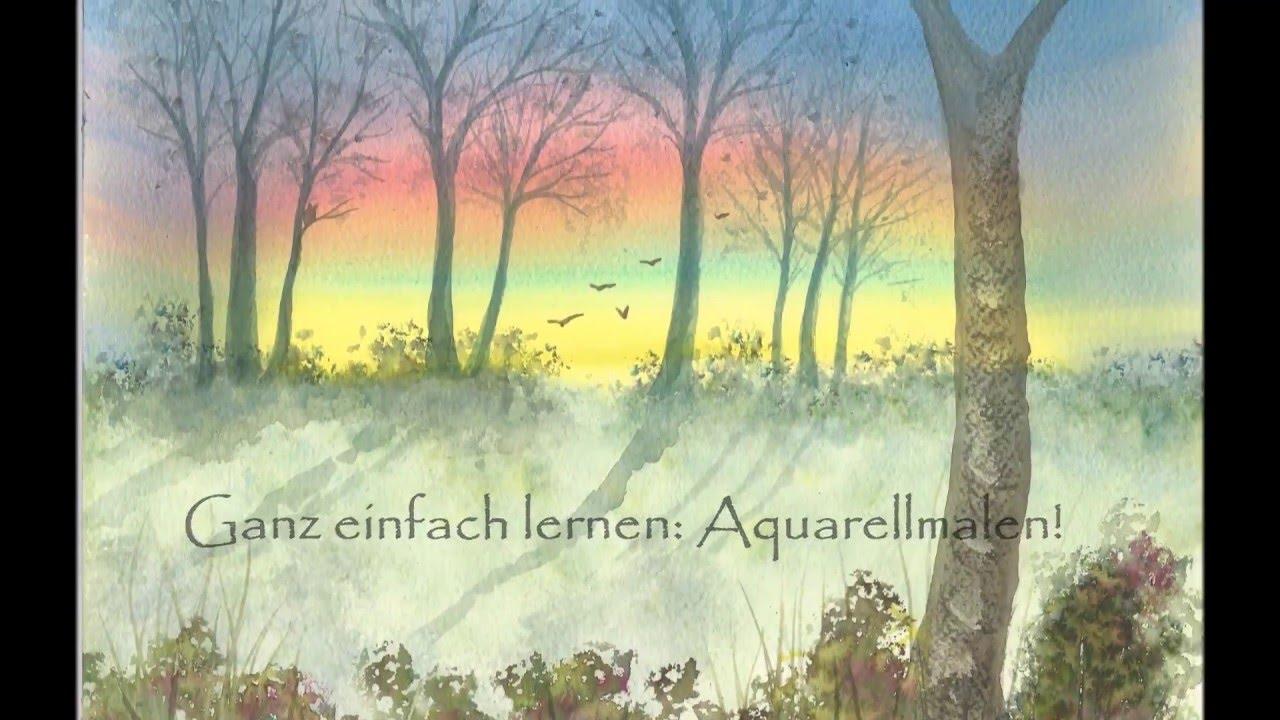 Ganz Einfach Aquarellmalen Lernen 1 Abendhimmel Mit Baumschatten