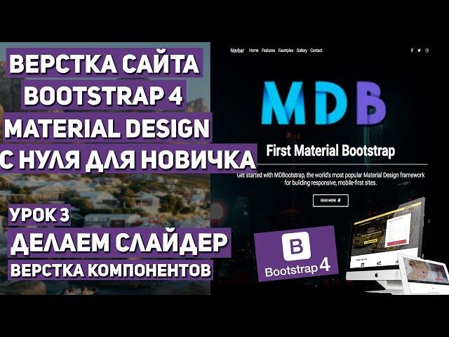 Верстка сайта с нуля на Bootstrap 4 - Делаем слайдер