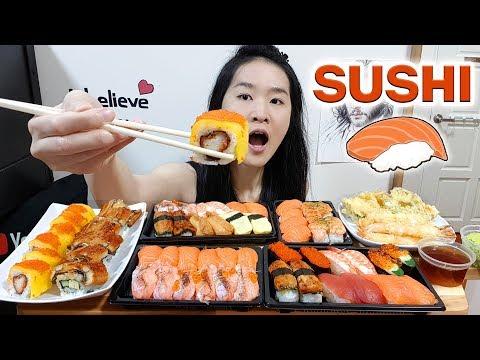 JAPANESE FOOD FEAST!! Nigiri Salmon Sushi, Unagi Sushi Rolls, Tamago, Tempura | Eating Show Mukbang