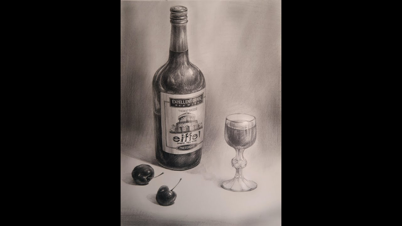 Draw The Realistic still life with Pencil B (Wine Bottle ...