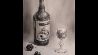 Draw The Realistic still life with Pencil B (Wine Bottle, Cherry, Glass of wine) 靜物鉛筆素描 - 紅酒,櫻桃,紅酒杯