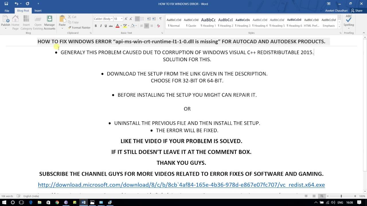 api-ms-win-crt-runtime-l1-1-0 dll is missing error fix for autocad
