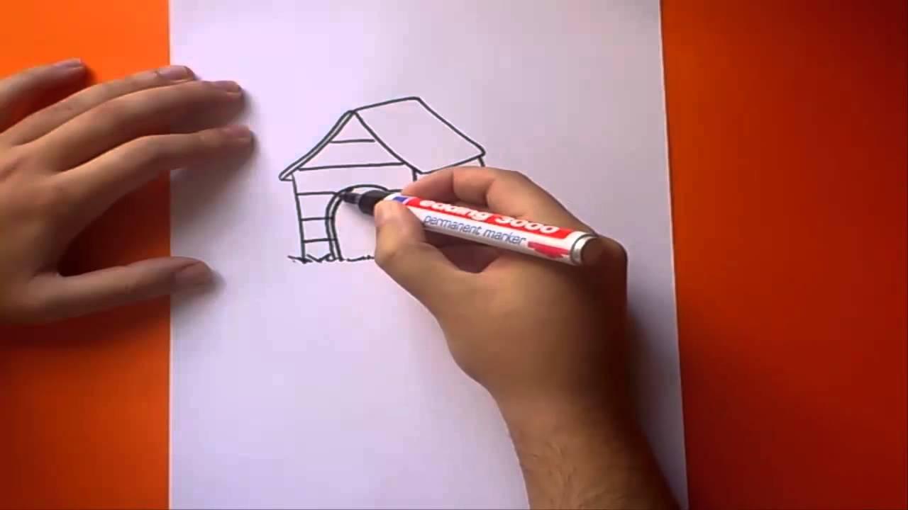 Como dibujar una caseta de perro paso a paso | How to draw a kennel ...