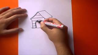 Como dibujar una caseta de perro paso a paso | How to draw a kennel