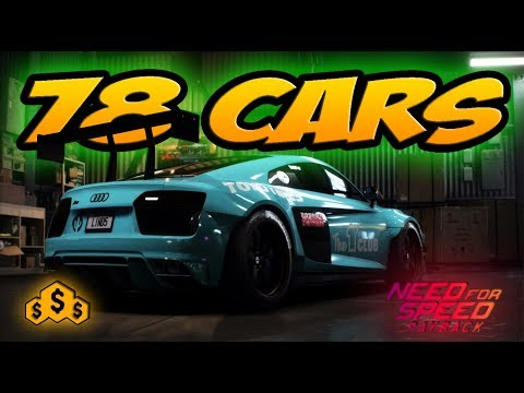 NFS PAYBACK - 78 OFFICIAL CARS LIST & HOW MUCH COST 💰💰💰!!! (AUDI R8, LAMBORGHINI....)
