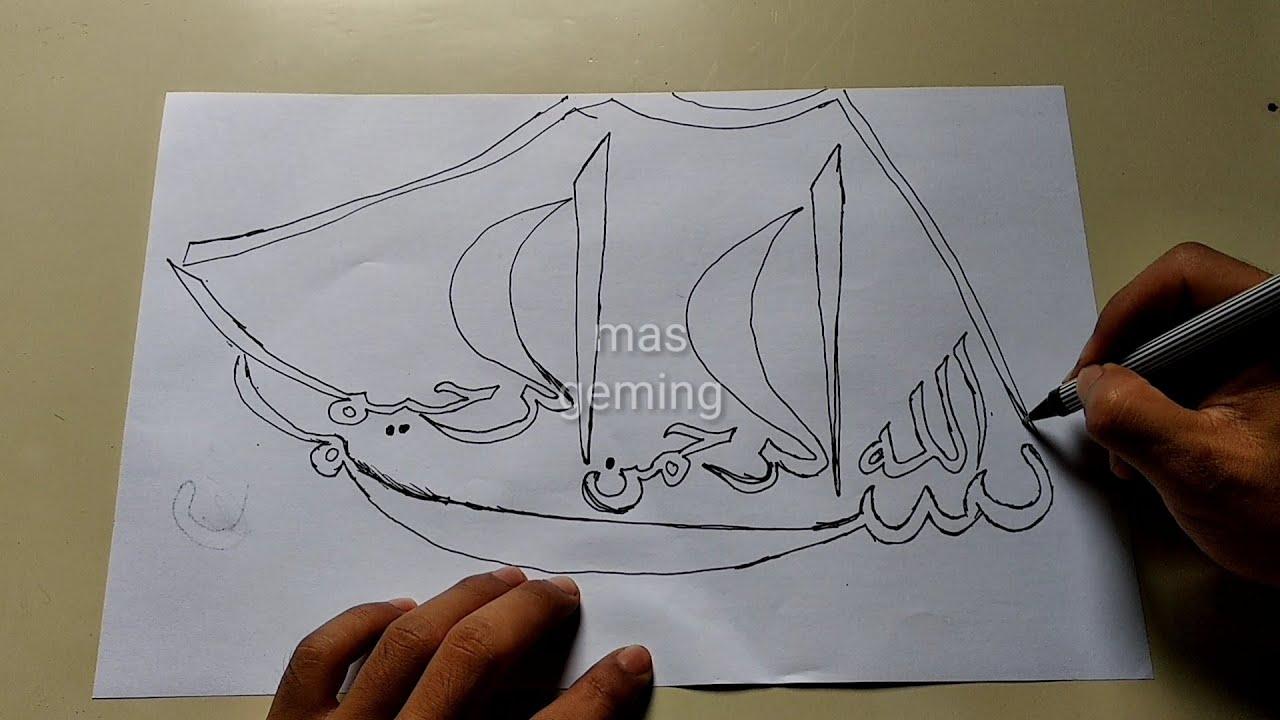 Menggambar Kaligrafi Bismillah Bentuk Perahu