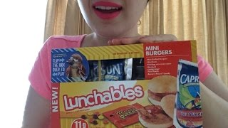 ASMR Eating Lunchables Chips with Nacho Cheese and Salsa and Mini Burgers!