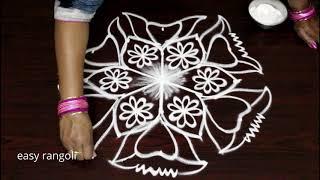 Latest rangoli & kolam designs with 5x3 dots Chukkala muggulu