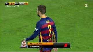 gerard pique red card furious with referee fc barcelona vs athletic bilbao spain supercup