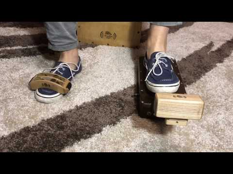 Wooden Electroacoustic Stomp Box Foot Percussion With Tambourine And Shaker By Noisy Wood