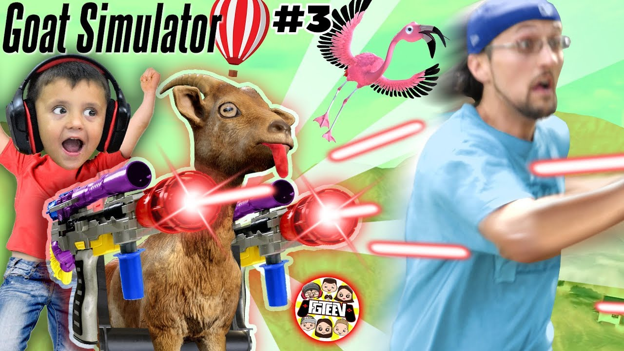 MY GOAT IS AFTER ME!!  FGTeeV Goat Simulator Pay Day w Gary the Shark (In Real Life skit) #3