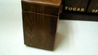 Hand Made Set 3 Wooden Mahogany Boxes Coffe Tea Sugar