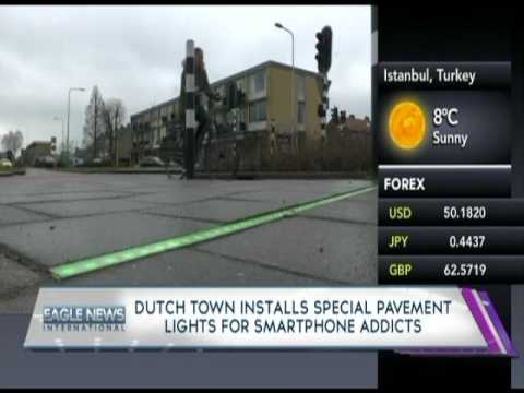 Dutch town installs special pavement lights for smartphone addicts