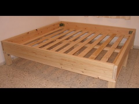 מעולה  שלבי בניית מיטה זוגית או יחיד בעלות מינימלית מעץ גושני ללא כלי AW-07