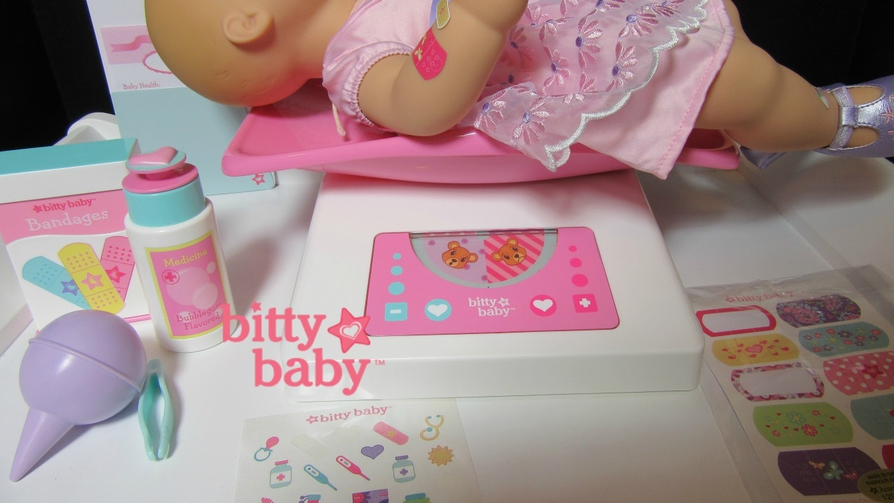 Bitty\'s Check Up Set Unboxing and Play Elsa Bitty Baby Channel  +scale+bandaid+tweezers+chart+sticker