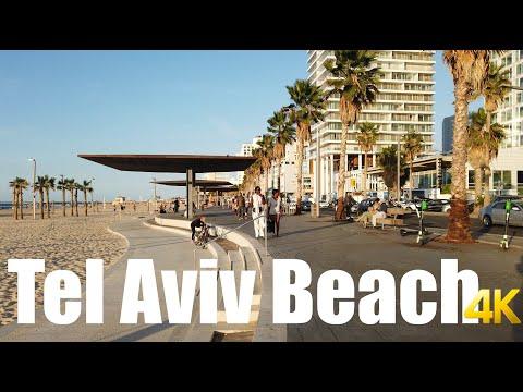 Tel Aviv Promenade, Israel walking tour 4k 60fps