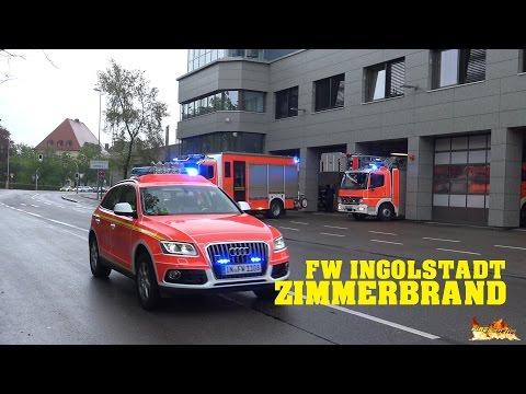 [Zimmerbrand - Personen in Gefahr] Ausrücken der Berufs- und Freiwilligen Feuerwehr Ingolstadt!
