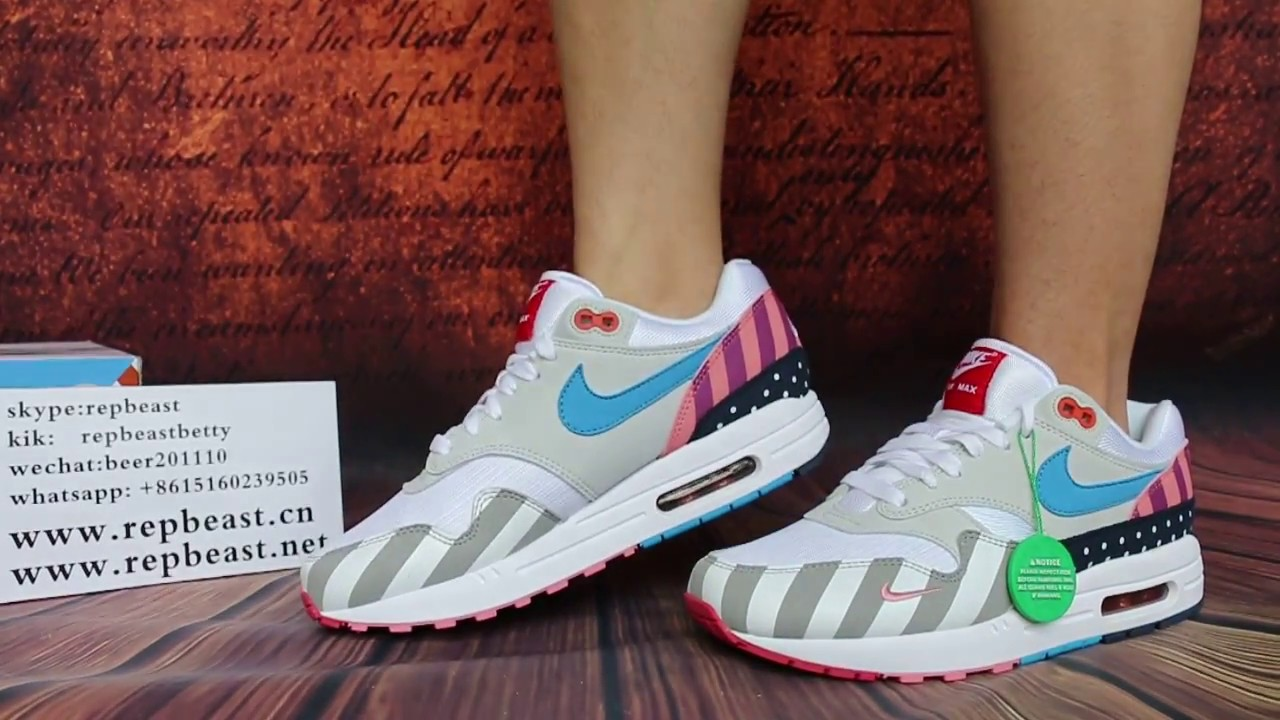 56b4a9f2f8 Parra x Nike Air Max 1 on feet HD Review - YouTube