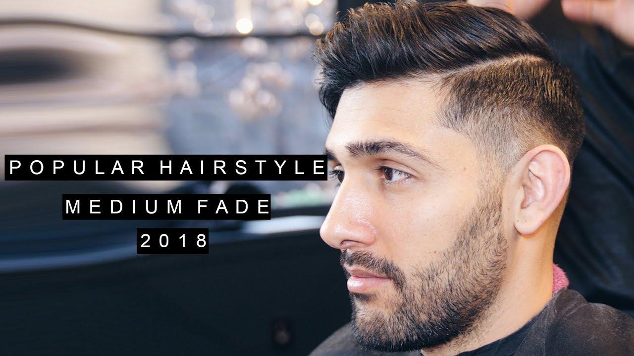 Medium Skin Fade Quiff Haircut Side Part Mens Hair 2018 Youtube