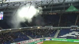 Hannover 96 gegen VFL Wolfsburg 5.2.2011 Rauchbombe im Gästeblock