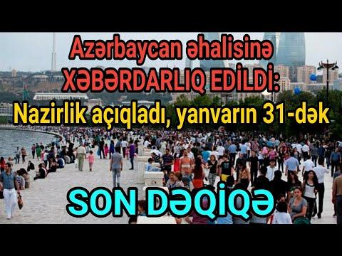 Azərbaycan əhalisinə XƏBƏRDARLIQ EDİLDİ: Nazirlik açıqladı, yanvarın 31-dək