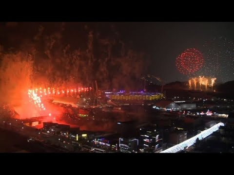 Fireworks in Pyeongchang for opening ceremony of Olympic Games