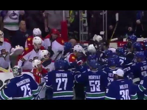 Panthers vs Canucks 2016 Jan 11 After-game brawl, Florida Commentators Stream