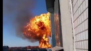 Момент взрыва на АЗС в Новосибирске